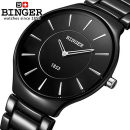 Wholesale Binger Watches - Wholesale- Genuine Swiss Brand Mens watch ceramic Women quartz table BINGER slim and stylish for couple watches free shipping