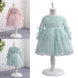 Wholesale Hot Pink Party Girls Dresses - Hot Sale Newest O-Neck Long Sleeve Lace Flower Girl Dresses A-line First Communion Dress Vestidos De Desfile Kids Party Dresses