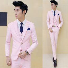 Wholesale Men Boys Slim Fit Suits - 3 piece (Jacket+Vest+Pant) Pink Tuxedo Slim Fit Boys Prom Suits With Pants Mens Wedding Suit for Men Party Dress Costume Black