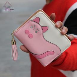Wholesale Photos Kittens - 2017 New Women's Wallets Korean Cute Sleeping Kitten Cat Wallet Stitching Color Tassel Zipper Short H727