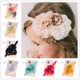 Wholesale Shabby Chic Headbands Wholesale - Wholesale- 1PCS Shabby Chic Headband Baby Hair Flowers Headbands Newborn Baby Hair Bows Hair Accessories Bows Photo Prop