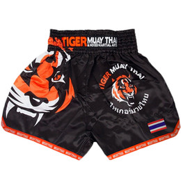 muay thai sanda Promo Codes - Mma Tiger Muay Thai Boxing Boxing Match Sanda Training Breathable Shorts Muay Thai Clothing Boxing Tiger Muay Thai Mma