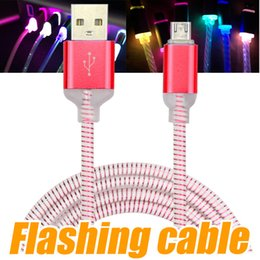 Wholesale Flash Light Roses - Micro USB V8 Charger Cable LED Light for Samsung Galaxy S7 S6 S8 LG Data dragon line Flashing 1M Charging Cords