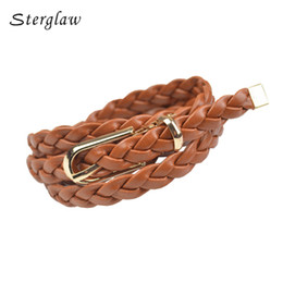 Wholesale Orange Braided Leather - Wholesale- female designer girls Braided Belt women 2017 PU Leather female belts broekriem, Candy Skinny cinturones mujer sterglaw Y101