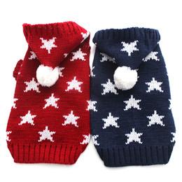 Wholesale Dog Clothing Star - Dog Cat sweater Jumper Stars design Pet Puppy Coat Jacket Warm Clothes apparel 5 size
