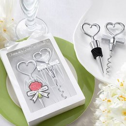 Wholesale Stopper Wine Bottle Corkscrew - Bottle Openers Tool Wine Bottle Opener Heart Shaped Great Combination Corkscrew and Stopper Sets Wedding Favors Gift Kitchen Dining Bar