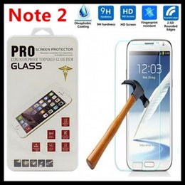 Wholesale Galaxy Note Ii Screen Protector - Ultra Thin 100pcs lot 0.3mm 2.5D Tempered glass For Samsung Galaxy Note 2 II N7100 Tempered Glass Screen Protector Film