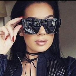 Wholesale Thick Framed Glasses Fashion - black square sunglasses women brand designer flat top vintage Sun Glasses female sunnies thick eyewear lunettes Kim Kardashian sunglass UV