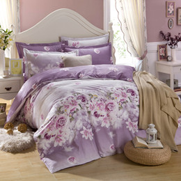 Wholesale Fitted Bedsheet - Wholesale-purple flowers printing bedding set twin full queen king size,fitted flat bedsheet comforter case pillowcases 4pcs 3pcs 5pcs set