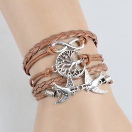 Wholesale Infinity Charms 5pcs - 5Pcs Handmade Infinity Alloy Elephant & Swallows Weave Leather Wax Rope Bracelets For Women Men Friendship Jewelry Gift