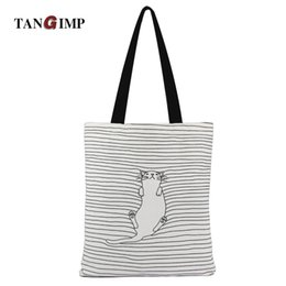 2017 chat de napping Sac de plage TANGIMP 2017 Cute Striped Napping Sacs en coton à coton en coton Eco Daily Femme Sac à bandoulière simple Fourre-tout Sacs de plage chat de napping promotion