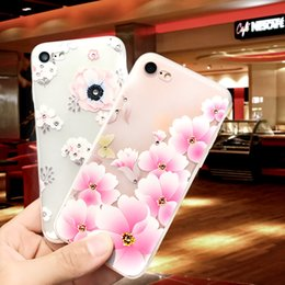 Wholesale Dropshipping Iphone Phone Case - Customized Diamond Flower Painted Embossed Frosted TPU Phone Case For iPhone 7 Cover Case Dropshipping