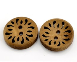 Wholesale Buttons Sewing 23mm - Kimter Brown Hollow Round Wooden Sewing Buttons With 2 Holes 23mm For Craft Garment Accessorie Scrapbooking DIY Project Pack Of 50pcs I620L