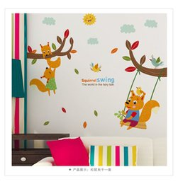 Wholesale Glass Tree Decorations - 80071 Lovely Squirrel Swing Wall Sticker Creative Tree Branch Mural Sticker for Kids Rooms Kindergarten Glass Window Decoration