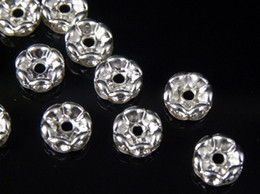Wholesale Rhinestone Crystal Rondelle Silver Spacer - 100 Pcs Wavy Rhinestone Rondelle Spacer Beads 6mm - Silver Clear Crystal SPARKLING Beads