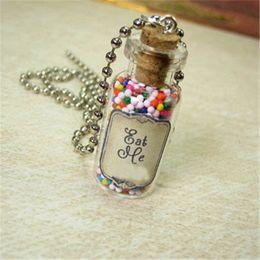 Wholesale Bottle Necklaces Corks - 12pcs lot Eat Me Alice in Wonderland Necklace Eat Me Glass Cork Bottle Pendant silver tone