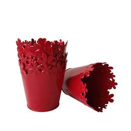 Ваза красного цвета онлайн-Бесплатная доставка мини-горшок маленький металлический ВАЗа горшки чистый сад ведро олова коробка железа горшки красный цвет бонсай