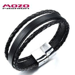 Wholesale Magnetic Clasps China - MOZO FASHION Men Bracelet Stainless Steel Magnetic Clasp Black Multilayer Leather Rope Chain Bracelet Trendy Men Jewelry MPH1054