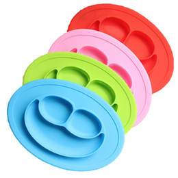 Wholesale Plastic Dining Plates - Baby Plate Smiling Face Silica Gel Integral Dining Pad Plates Creative Partition Babies Complementary Dishes Multi Purpose 10 5ym E1 R