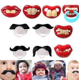 Wholesale Funny Pacifiers - Cute Funny Teeth Beard Mustache Baby Pacifier Orthodontic Dummy Infant Nipples Silica gel infant Pacifier KKA2387