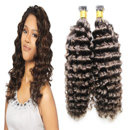 Wholesale Dark Brown Extensions Fusion Tip - Remy fusion hair extensions Deep curly Human hair extensions keratin i tip hair extensions #4 Dark Brown 100g