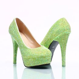 Wholesale Green Prom Heels - 5 8 11 14CM Cinderella Shoes Green Fully Beaded Bridal Bridesmaid Wedding Shoes Hand-made Prom Evening Party High Heels 117