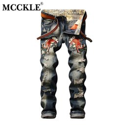 Wholesale Embroidery Trousers - Wholesale- MCCKLE 2017 Spring Fashion Embroidery Jeans Mens Hi Streeet Ripped Denim Biker Pants Destroyed Blue Brand Jeans Trousers