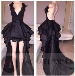 Wholesale Hi Lo Prom Dress Cheap - 2017 New Black High Low Prom Dresses Deep V Neck Sexy Backless Lace Sequins Long Evening Dresses Formal Party Gowns Cheap Short Prom Dresses