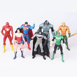 Wholesale Dc Superheroes - DC Comics Superhero Toys 7 pcs  Set. Superman Batman Miracle Woman Flash Green Lantern Aquaman Cyborg PVC Figures