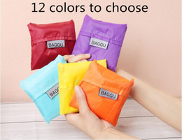 Wholesale Eco Reusable Shopping Tote Bags - Portable Shopping Bag Tote Reusable Foldable Large Capacity Candy Color Handbag Eco-friendly Durable Nylon Grocery Bags Easy to Carry