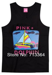 Wholesale Dance Tank Tops - 2017 new style casual pink dolphin hip hop fashion young men and women muscle tank tops street dance plus size xxxl top quality