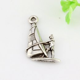 Wholesale Sail Boat Charm Silver - Hot ! 300pcsAntique Silver Zinc Alloy Single-sided Sail Boat Charm Pendants 16x22mm DIY Jewelry A-0152