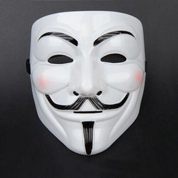 Wholesale V For Vendetta Yellow - Wholesale-TTLIFE V Face Mask for Vendetta Mask Film Guy Fawkes Fancy Cosplay Anonymous Halloween Masks Fancy Dress Costume (White Yellow)