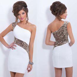 Wholesale Cheap Rayon Shirts - 2017 Beautiful royal white woman short chiffon one shoulder cheap formal party dresses elegant 00169
