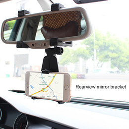 Wholesale Car Mirror Mount - Universal Car Mount Car Holder Universal Rearview Mirror Holder Cell Phone GPS holder Stand Cradle Auto Truck Mirror With box
