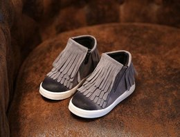 Wholesale Brown Suede Fringe Boots - Us size: 5.5-12 Spring Autumn Winter child girl kid motorcycle boots nubuck leather martin boots fringe flats shoes zip solid color short b