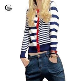 Wholesale Girls Polka Dot Cardigan - Wholesale- Lace Girl 2017 Hot Sales Autumn Women Sweaters Outerwear Female Slim Stripe Polka Dot Gold Buckle Slim Lady Knitted Cardigan