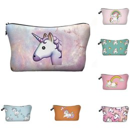 Wholesale Pencil Accessories - Beautiful Cosmetic Case Coins Purses Unicorn Printed Handbags Children Pencil Pouch Girl Makeup Bags Women Fashion Accessories Gifts