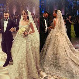 Wholesale Wedding Dresses Square Neckline - Sparkling Luxurious Dubai Wedding Dress Square Neckline Beaded Sequins Applique Organza Bridal Dresses 2017 Charming Princess Wedding Gowns