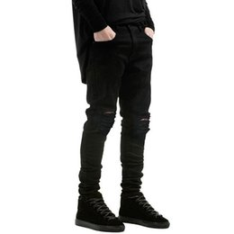 Wholesale Wholesale White Men Jeans - Wholesale-New fashion ripped jeans Little stretch jeans for men and women