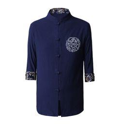 Wholesale Kung Fu Shirt Cotton - Wholesale- High Quality Chinese Men's Kung Fu Shirt Cotton Linen Wu Shu Clothing Embroidery Tang Suit Tops M L XL XXL XXXL 2607