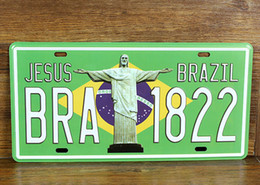 "Wholesale Vintage Sign Numbers - Wholesale- SP-CP-288 Car number "" BRA-1822 Brazil "" License Plates plate Vintage Metal tin sign Wall art craft painting 15x30cm"