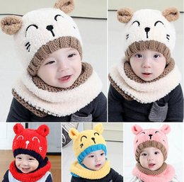 Wholesale Crocheted Bear - Puseky 2pcs Plush Knitting Embroidery Bear Soft Touch Ear Protect Pom pom Hat+Scarf Winter Knitting Wool Warm Cap Scarf Set