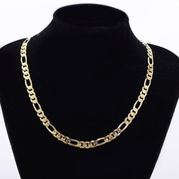 Wholesale Mens Figaro Necklace - Mens 24k Real Yellow Solid Gold GF 8mm Italian Figaro Link Chain Necklace 24 Inches
