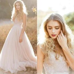 Wholesale Model Farm - 2017 Romantic A Line Country Wedding Dresses with Applique Sweetheart Lace Sleeveless Boho Bridal Gowns For Garden Farm Vestido De Noiva