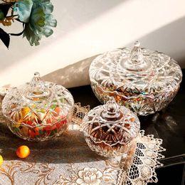 Wholesale 13 Jar - 13*12.5CM 15*15.5CM 17.5*22CM Transparent Lead-free Glass Candy Cup Retro European Style Nut Storage Jars