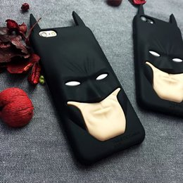 Wholesale 3d Black Batman Case - 3D Cartoon Batman Soft Silicone Case Cover For iphone 6 6S 7 Plus Silicon Shell Cover Cell Phone Cases