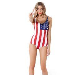Wholesale Girls American Flag Bikinis - Monokini Cute Women Girls Fashion Bikinis Sexy Summer Ladies Swimwear Beachwear American Flag Printing One-Piece Swimsuit Bathing Suit