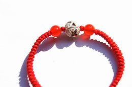 """Wholesale King Chain 925 - Hand-made by natural agate red king kong """""""" 925 silver bead bracelet"""