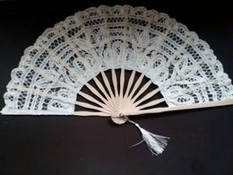 Wholesale Lace Bridal Fans - Handmade Battenburg Fan lace embroidery wedding party bridal vintage palace style handfan cosplay accessories high quality H123